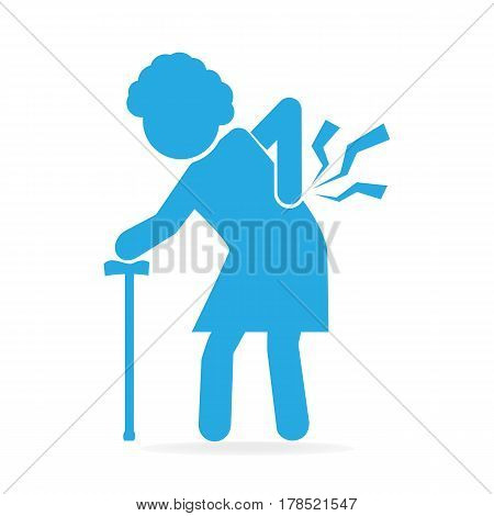 Elderly woman with stick and injury of the back pain icon Old people icon