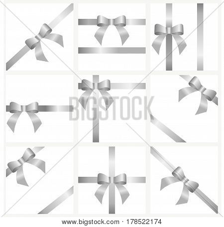 a set of silver ribbons and bows for gift decoration. beautiful collection of festive ribbons with bow for decoration for the holiday. vector illustration