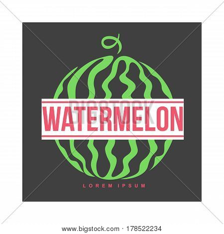 Red and green logo template with side view of stylized striped watermelon, vector illustration isolated on black background. Watermelon logotype, logo design with graphic, stylized whole watermelon