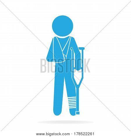 Injured men in bandage sign icon medical sign illustration