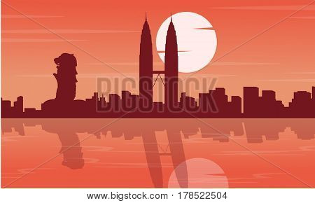 Malaysia and Singapore city tour scenery silhouettes illustration