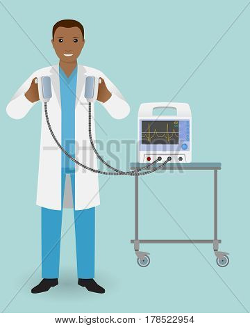Emergency doctor with a defibrillator in his hand is ready to influence. Medical employee. Hospital staff. Doctor specialization concept. Vector illustration.