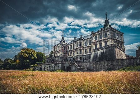 Retro styled photo of Pidhirtsi Castle Renaissance Palace Lviv region Ukraine.