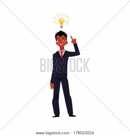 Black African businessman having idea, light bulb as symbol of business insight, cartoon vector illustration isolated on white background. Black businessman, manager has idea, insight, inspiration
