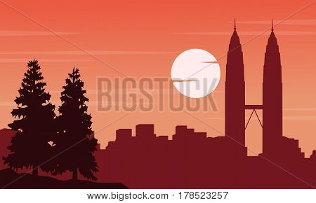 Vector art of city tour Malaysia scenery collection