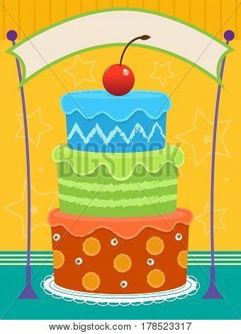Colorful three layered cake with cherry on top and blank banner above it. Eps10