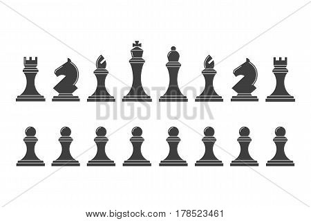 Silhouettes of chess pieces. Icons of the chess king, queen, bishop, knight, rook and pawn. Team of classical chess on a white background.