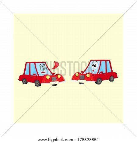Two funny red car characters, one showing thumb up, another surprised, cartoon vector illustration isolated on white background. Couple of funny red car characters, mascots, giving thumb up and awed