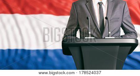 Speaker On Netherlands Flag Background. 3D Illustration
