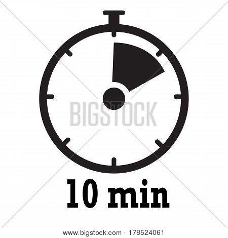 Timer icon. 10 minutes stopwatch symbol. Flat icon on white background.