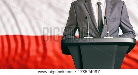 Speaker On Poland Flag Background. 3D Illustration