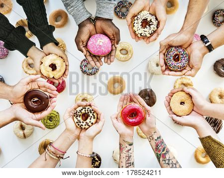 People Hands Hold Share Doughnuts
