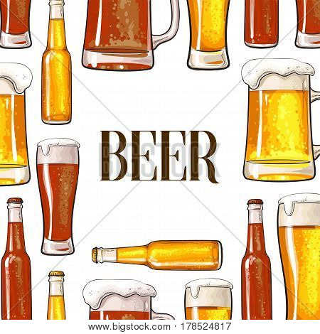 Banner of vertically and horizontally positioned beer bottles, mugs and glasses with place for text, sketch vector illustration on white background. Hand drawn beer bottle, glass, hop frame background