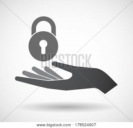 Isolated Hand With  A Closed Lock Pad