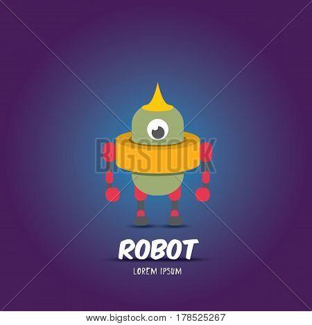 vector cartoon flat robot or cyborg. orange robot logo icon design template