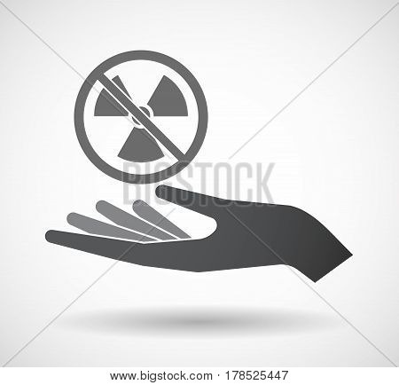 Isolated Hand With  A Radioactivity Sign  In A Not Allowed Signal