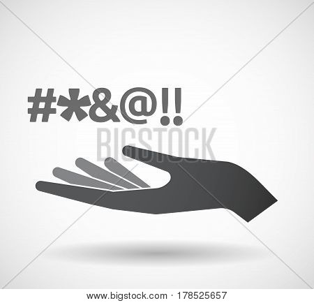 Isolated Hand With  A Cursing Tex