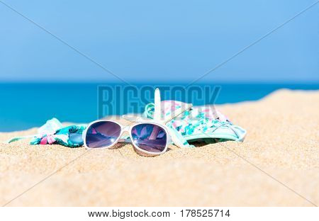 Beach accessories. Concept of summer vacations. Thailand beach