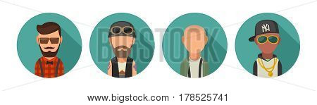 Set icon different subcultures people. Hipster, biker, skinhead, raper. Vector flat illustration on turquoise circle.