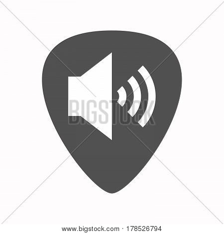 Isolated Guitar Plectrum With  A Speaker Volume Sign