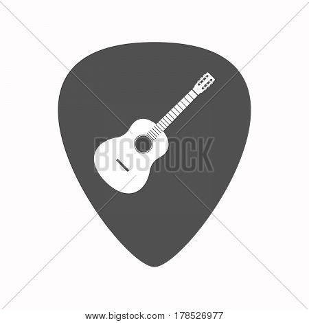 Isolated Guitar Plectrum With  A Six String Acoustic Guitar