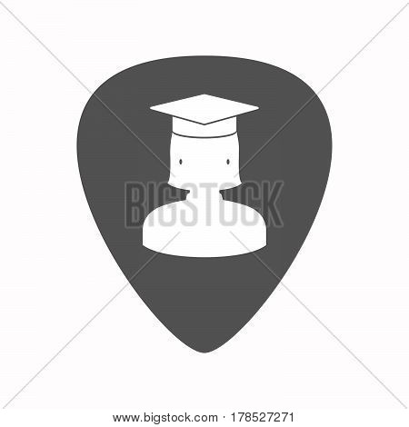 Isolated Guitar Plectrum With  A Female Graduated Student
