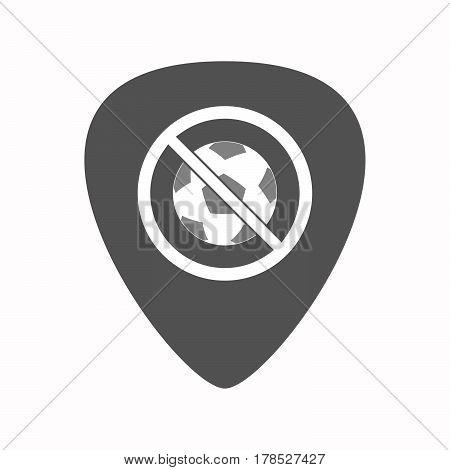 Isolated Guitar Plectrum With  A Soccer Ball  In A Not Allowed Signal
