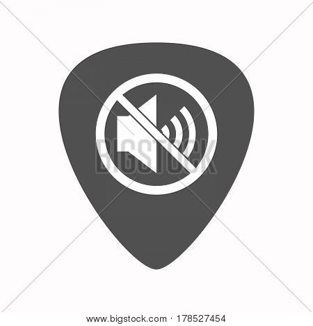 Isolated Guitar Plectrum With  A Speaker  In A Not Allowed Signal