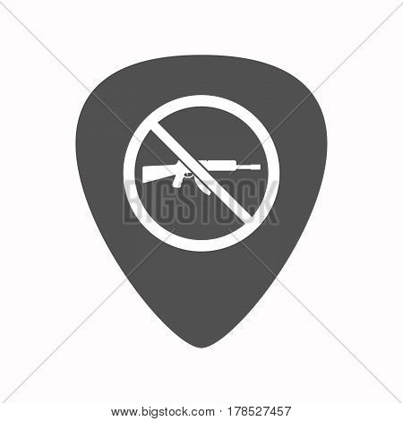 Isolated Guitar Plectrum With  A Rifle  In A Not Allowed Signal