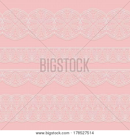 Set of seamless lace white ribbons on a pink background. Styling weave crochet. Vector illustration