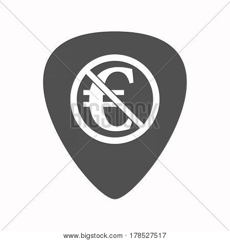 Isolated Guitar Plectrum With  An Euro Sign  In A Not Allowed Signal