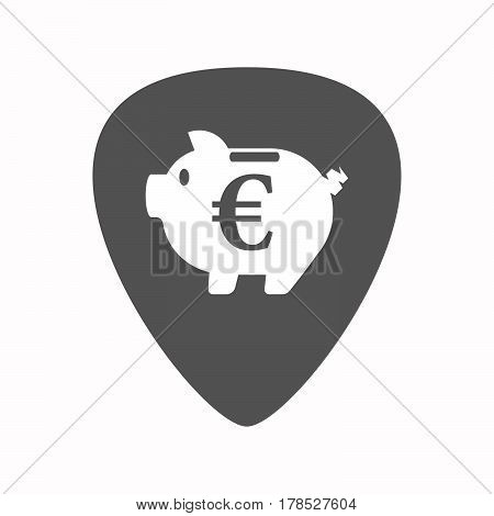 Isolated Guitar Plectrum With  An Euro Coin In A Piggy Bank Moneybox