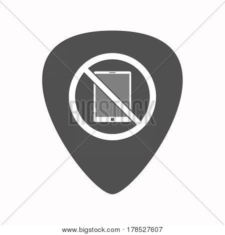 Isolated Guitar Plectrum With  A Tablet Pc  In A Not Allowed Signal