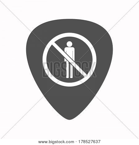 Isolated Guitar Plectrum With  A Male Pictogram  In A Not Allowed Signal