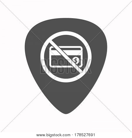 Isolated Guitar Plectrum With  A Credit Card  In A Not Allowed Signal