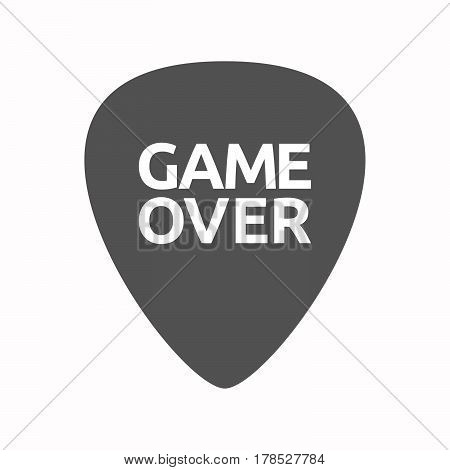 Isolated Guitar Plectrum With  The Text Game Over