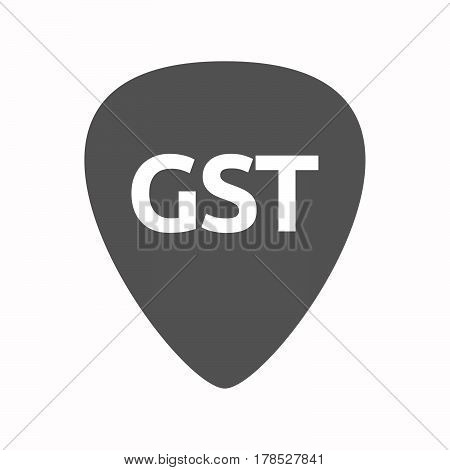 Isolated Guitar Plectrum With  The Goods And Service Tax Acronym Gst