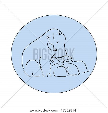 Bear  polar with cubs, vector illustration logo