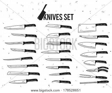 Vector black and white knives set on white background