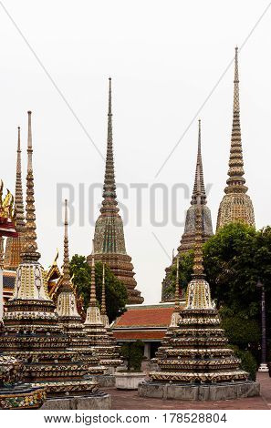 Beautifull Decorated Stupas And Pagoda In Wat Pho Temple, Bangkok