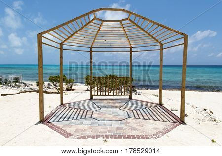 The wooden structure on a beach of Grand Turk island (Turks & Caicos).