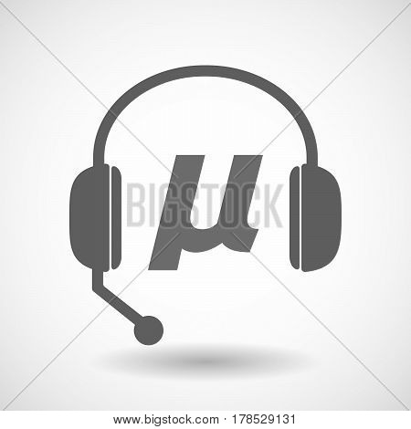 Isolated Hands Free Headphones With  A Micro Sign, Mu Greek Letter
