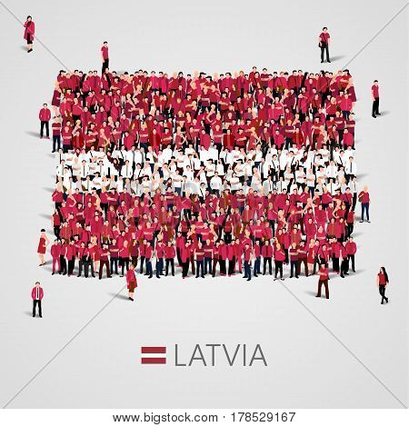 Large group of people in the shape of Latvian flag. Republic of Latvia. Vector illustration