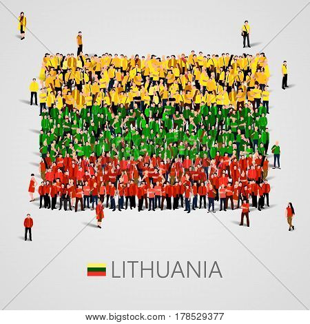 Large group of people in the shape of Latvian flag. Republic of Lithuania. Vector illustration