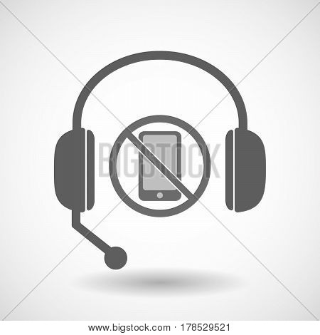 Isolated Hands Free Headphones With  A Phone  In A Not Allowed Signal