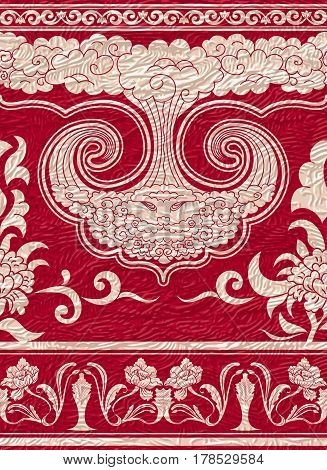 Set of seamless borders on red textured background. Styling Chinese painting. It can be used as the repeating pattern. Vector illustration.