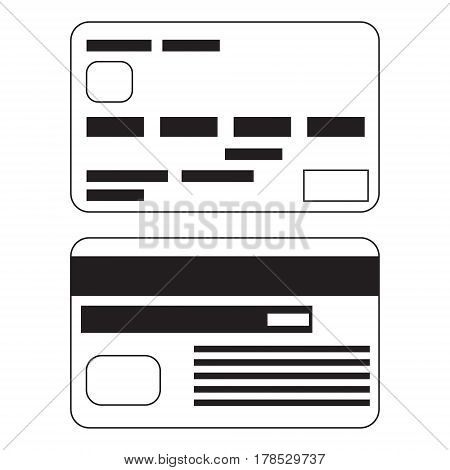 Vector icon of two bank payment cards in flat cartoon style. Black and white isolated illustration.