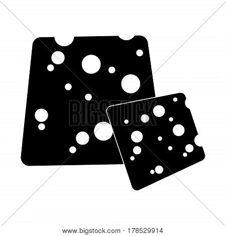 Vector cheese flat cartoon style icon. Hard cheese loaf with holes. Black and white isolated illustration.