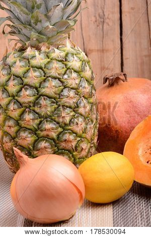 Collection Of Fruit And Vegetables. Pineapple, Lemon, Grapefruit, Onion, Pumpkin