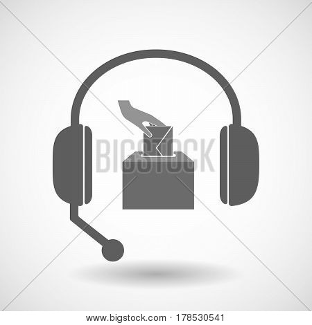 Isolated Hands Free Headphones With  A Hand Inserting An Envelope In A Ballot Box